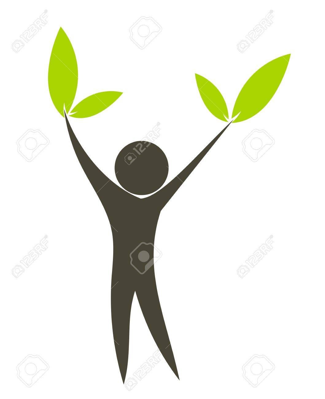 Eco man with green leaves in hands. Conceptual vector illustration Stock Vector - 9838049
