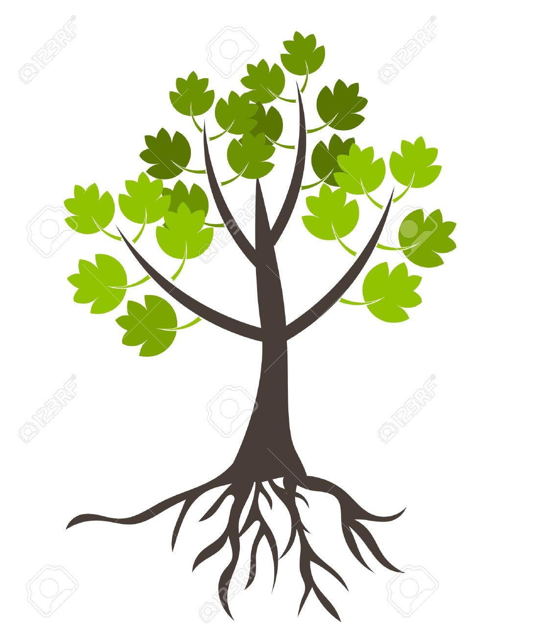 Tree with roots - vector illustration Stock Vector - 9838081