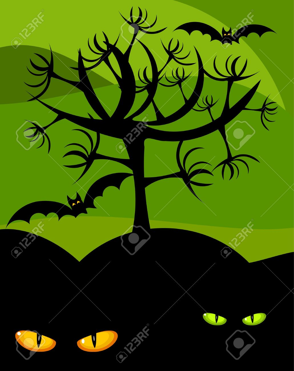 halloween scary scenery wild cat eyes tree and bats royalty free rh 123rf com Scary Pumpkin Clip Art Cute Ghost Clip Art