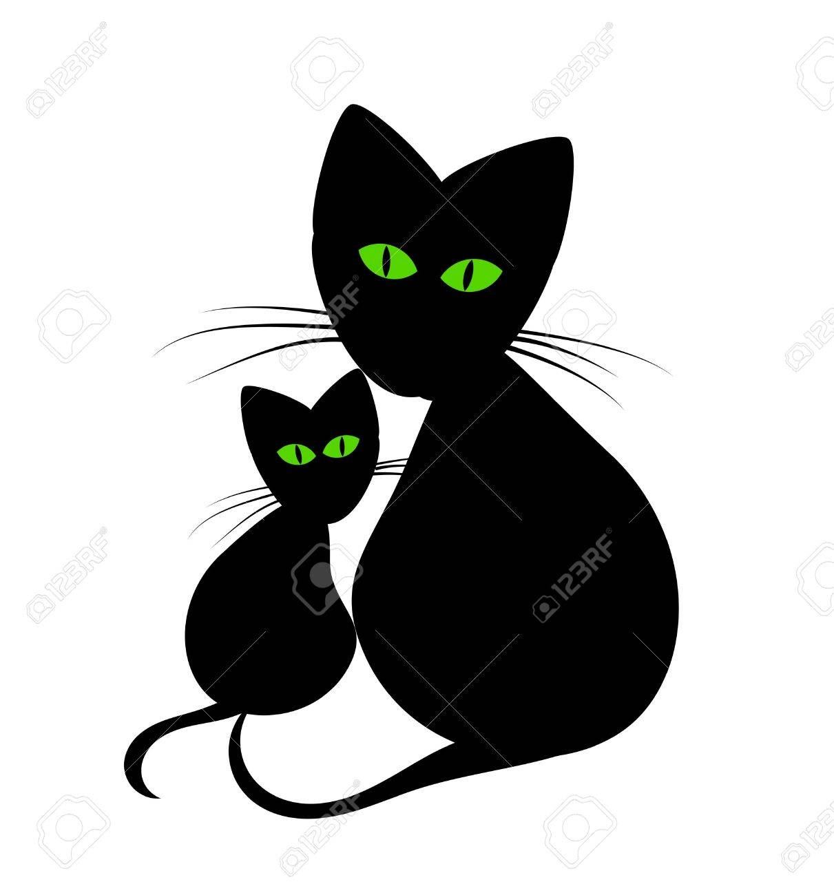 black cats cats mom and kitten stock vector 10300122 - Black Cat Silhouette Halloween