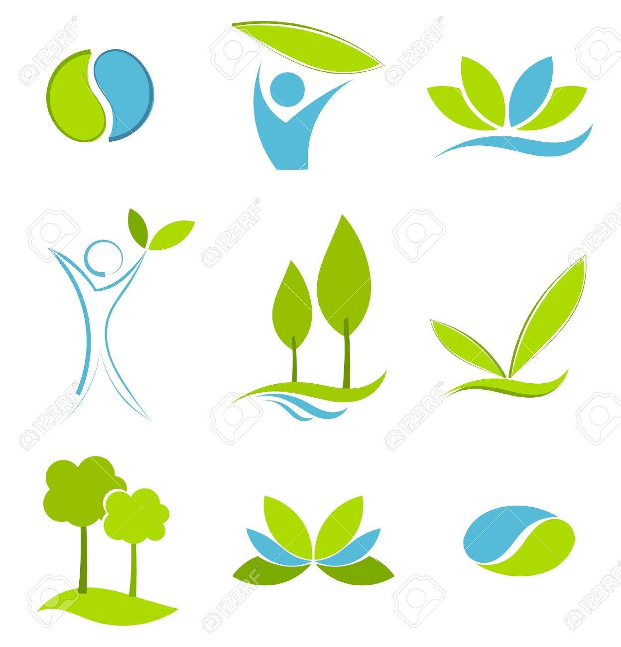 Green and blue symbols of eco life. Water and earth concepts Stock Vector - 10491816