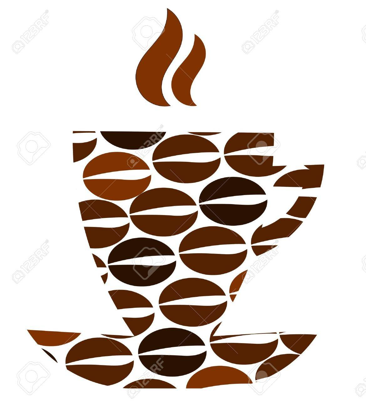Abstract coffee cup with beans pattern Stock Vector - 10723401