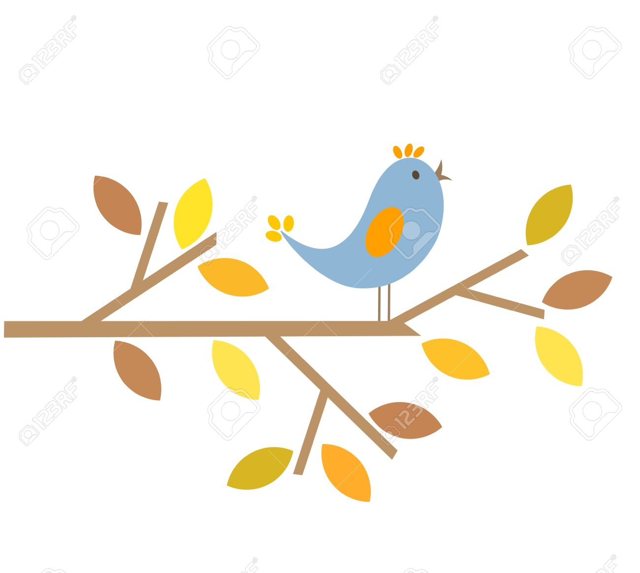 Bird singing last summer song. Autumn is comming Stock Vector - 10803143