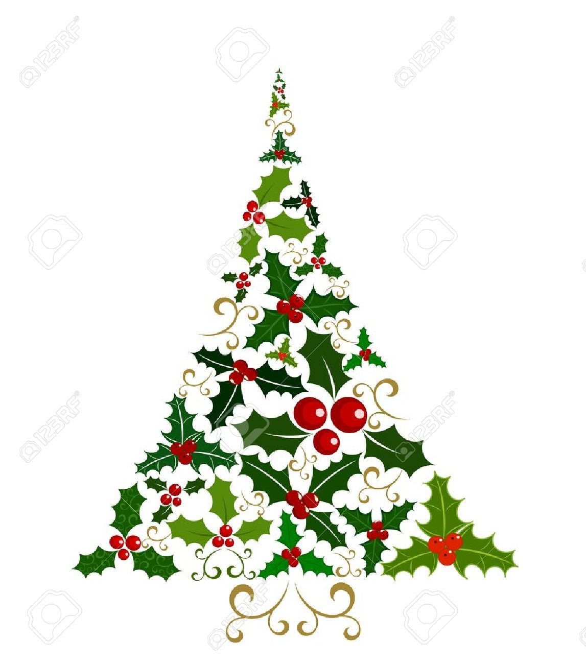 Abstract Christmas Tree Isolated Made Of Various Holly Berry