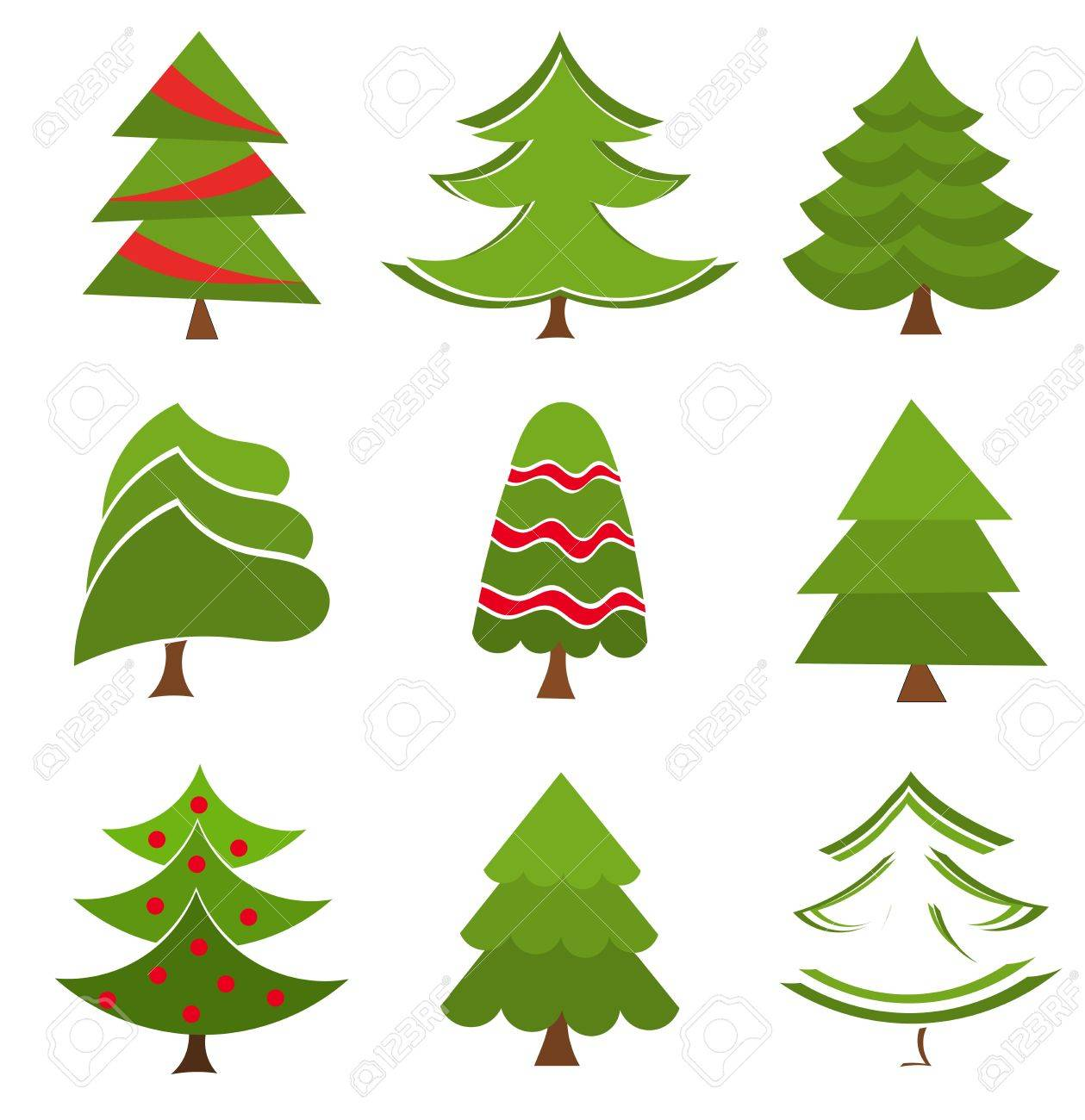 Christmas trees collection. Vector illustration - 11084311