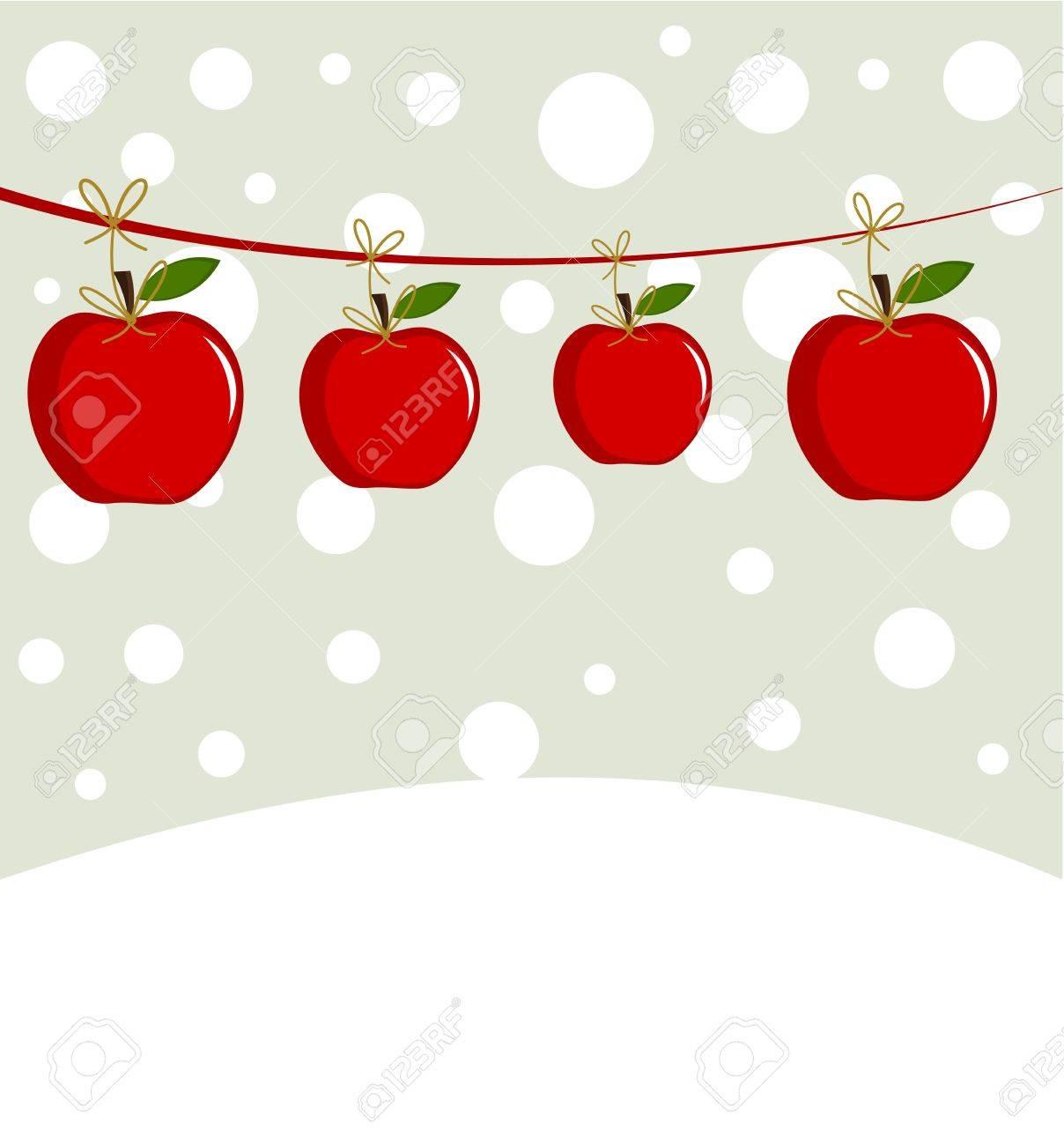 Christmas apples in winter scenery Stock Vector - 12119463