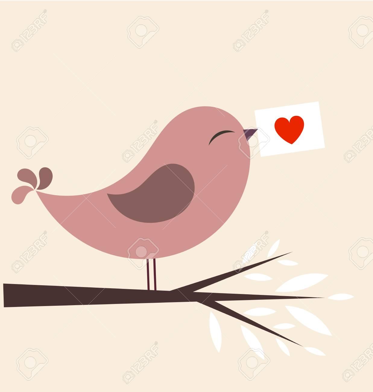 Valentine bird with card. illustration Stock Vector - 12486872
