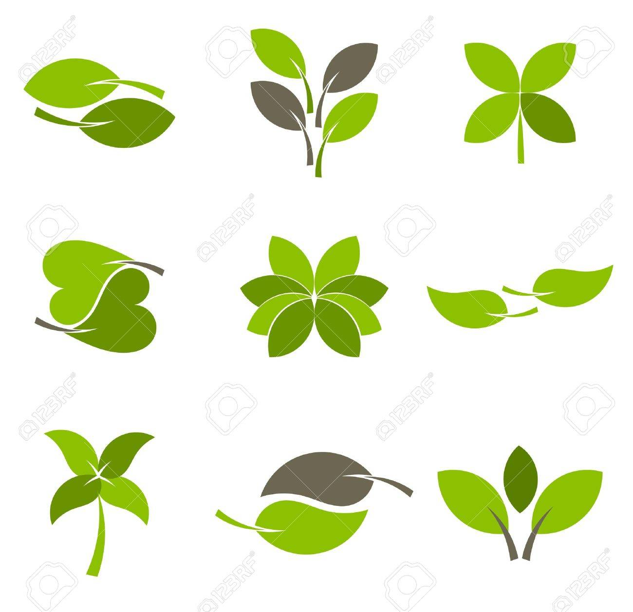 Green leaves - collection of eco logos. Vector illustration Stock Vector - 12935173