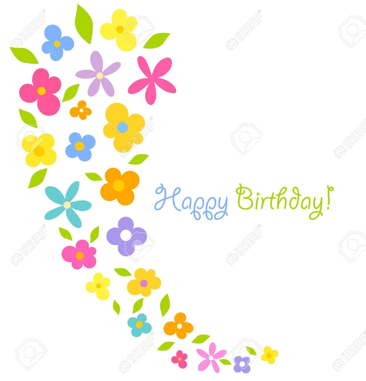 Colorful flowers - birthday vector card Stock Vector - 12935261