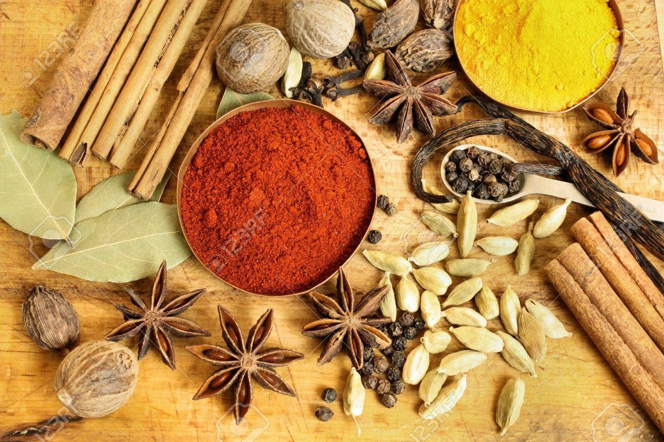 Various spices background Stock Photo - 12935280