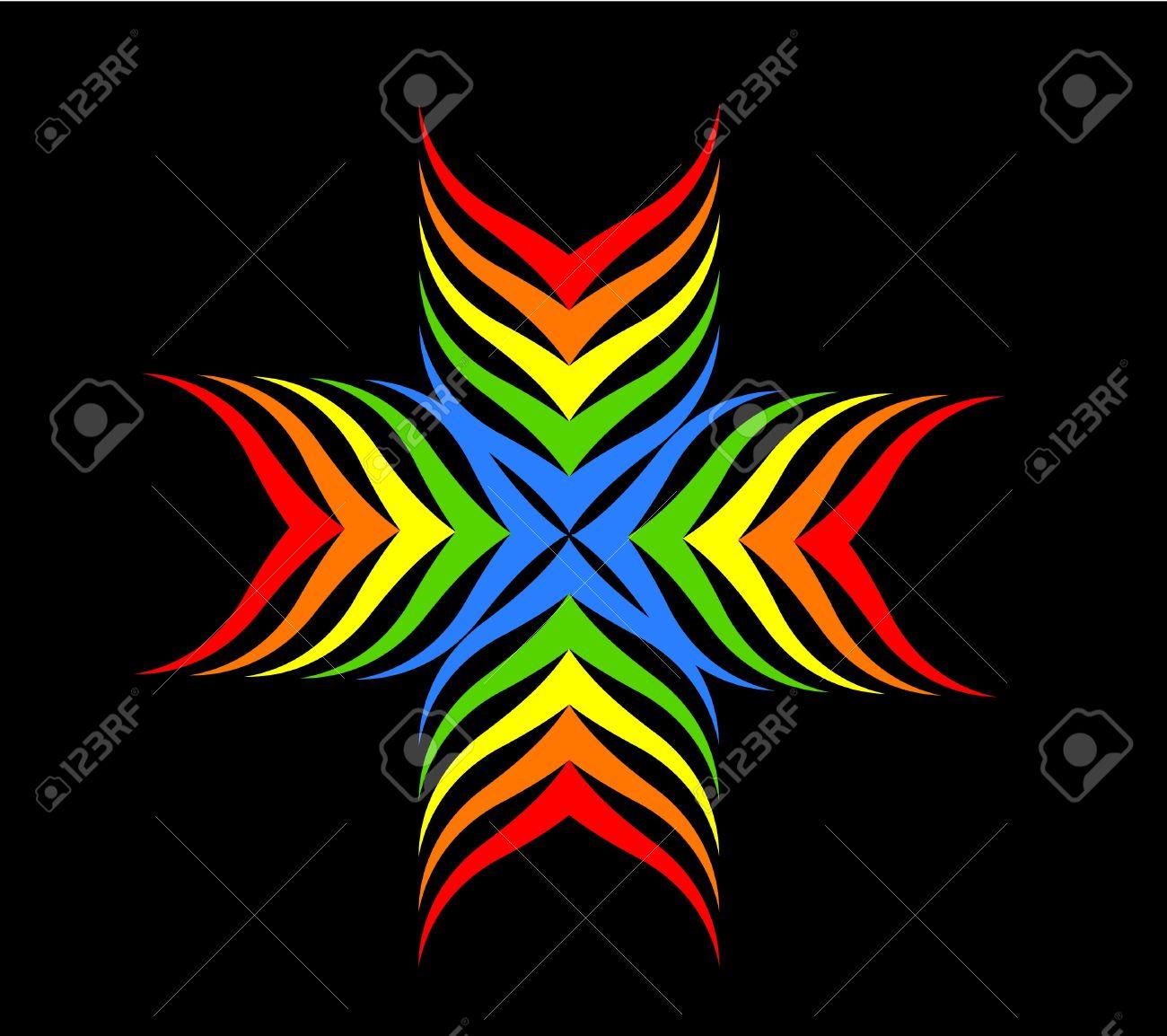 Rainbow cross motive over black illustration Stock Vector - 13055192