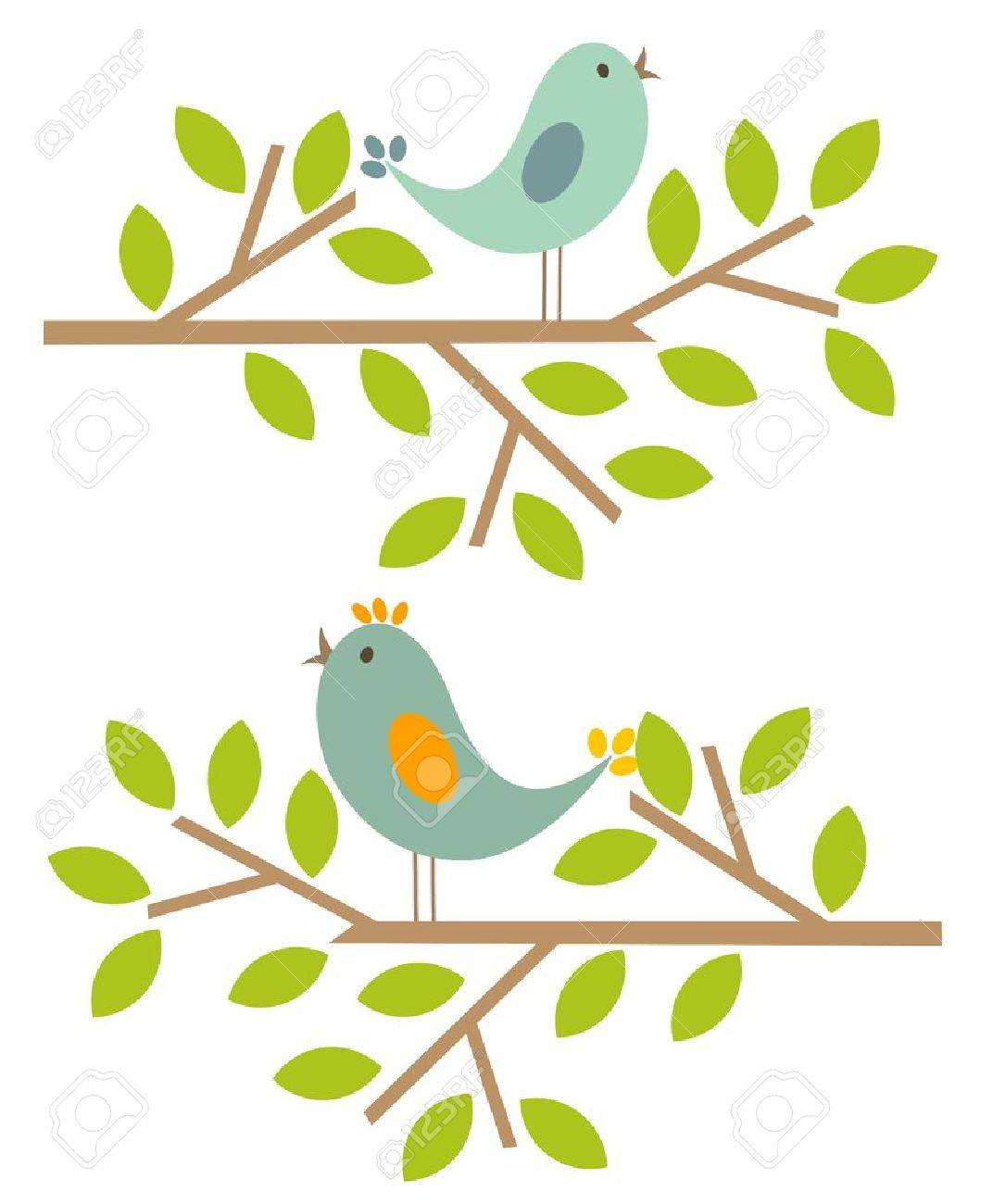 Couple Of Birds Singing Spring Song. Vector Illustration Stock Vector    13142444