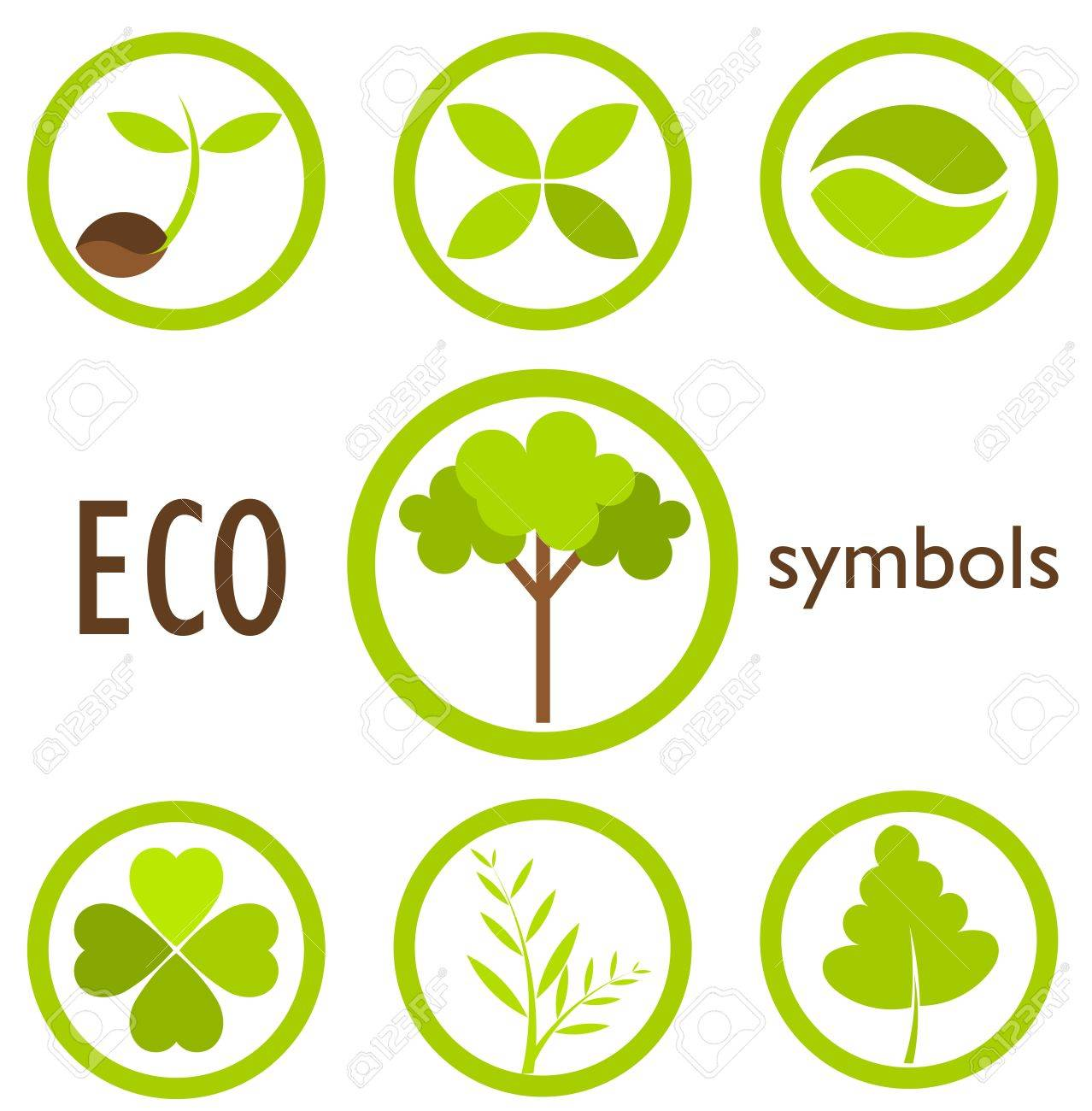 Set of eco icons and symbols in circles. Vector illustration Stock Vector - 13196557