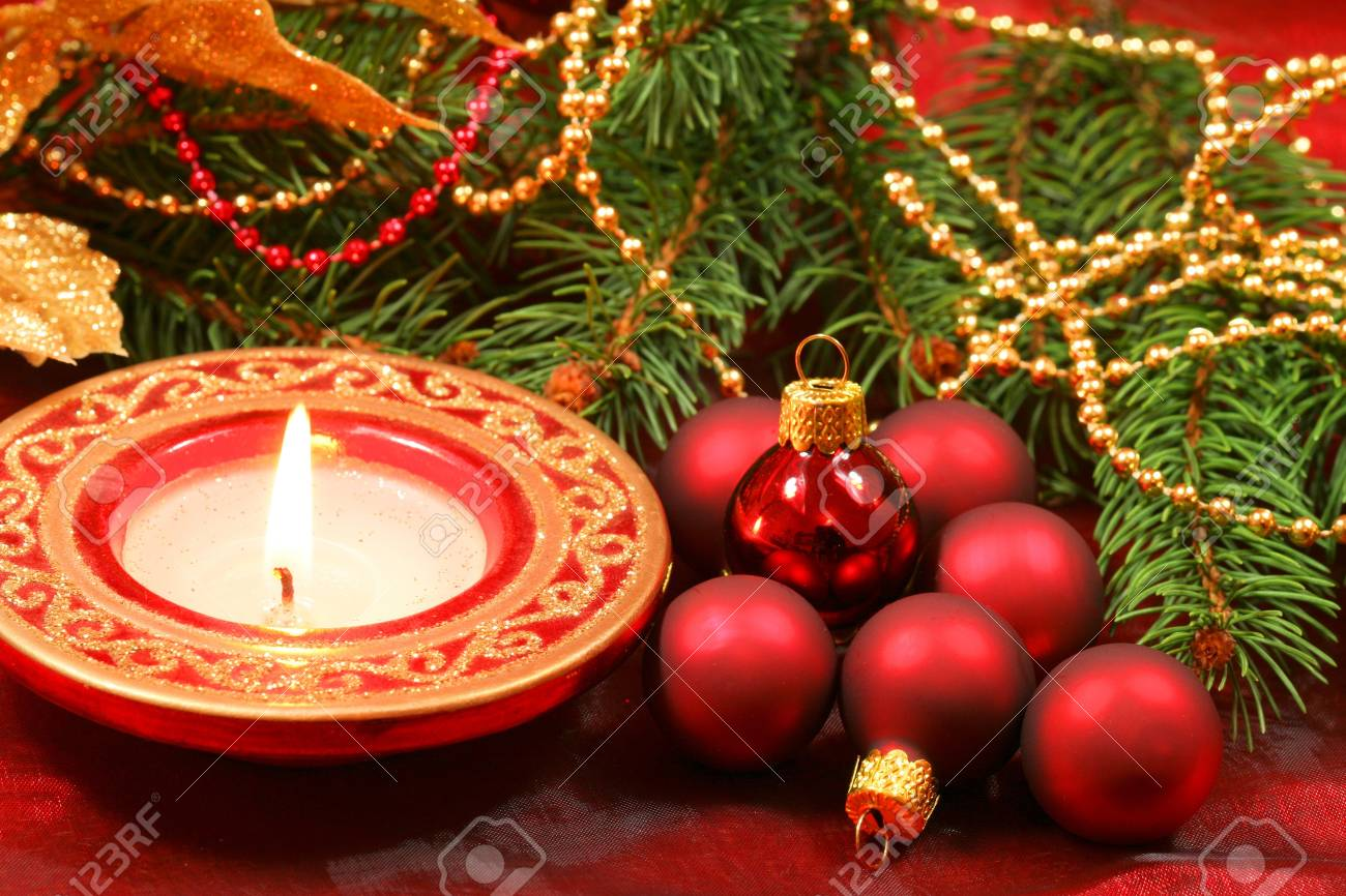 Christmas decoration : glass baubles and candle Stock Photo - 13538988