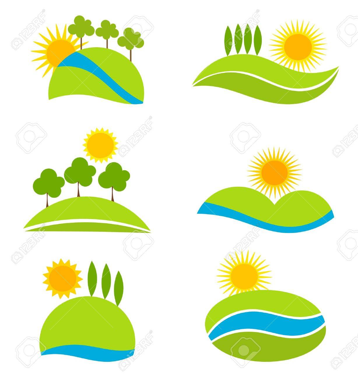 Landscape icons for design. Vector illustration Stock Vector - 14942774