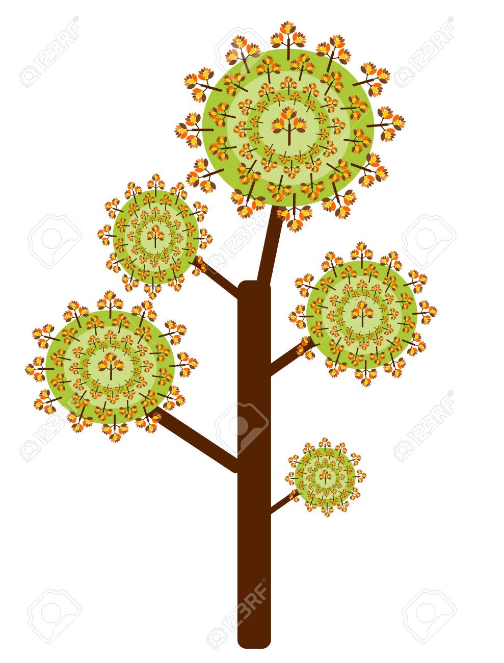 Funny abstract tree with autumn colorful leaves Stock Vector - 15027422