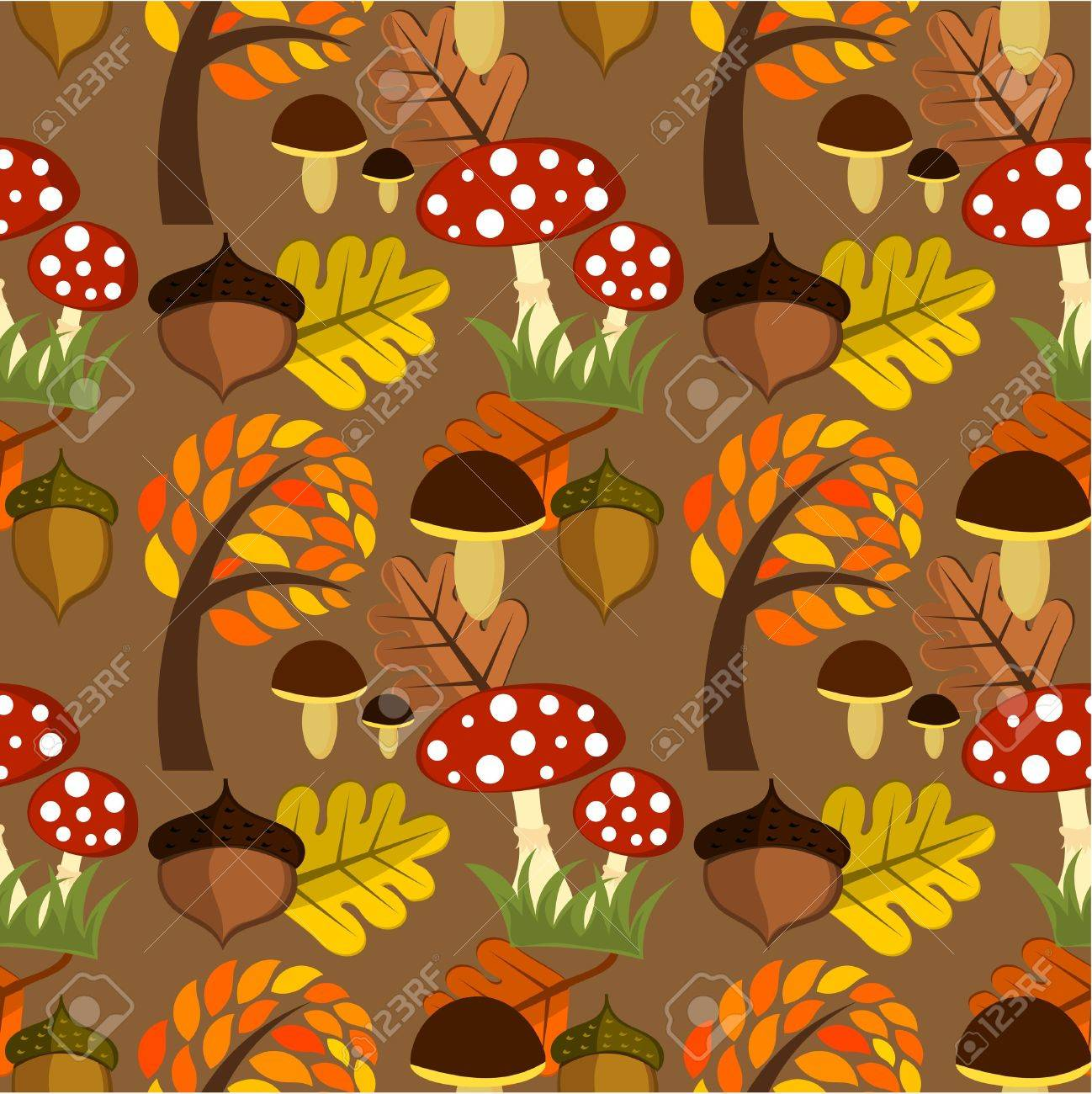 Autumnal forest life seamless pattern Stock Vector - 15027420