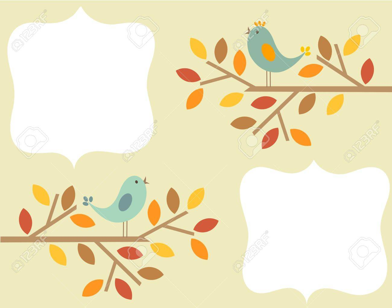 Autumnal birds singing - vintage frame background Stock Vector - 15027402