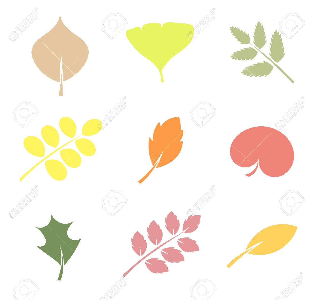 Various shapes of leaves Stock Vector - 15809725