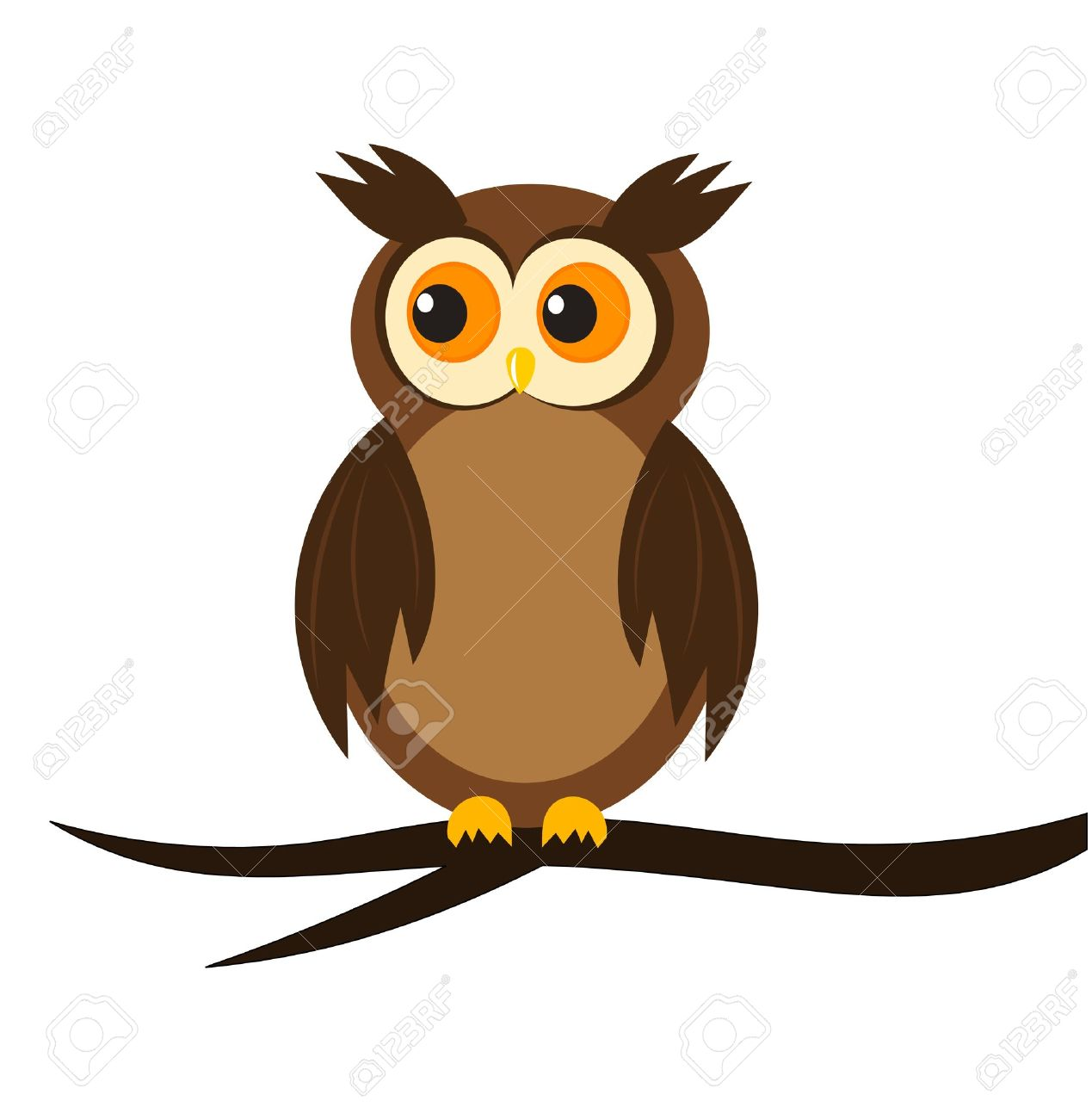 cartoon owl sitting on tree branch royalty free cliparts vectors