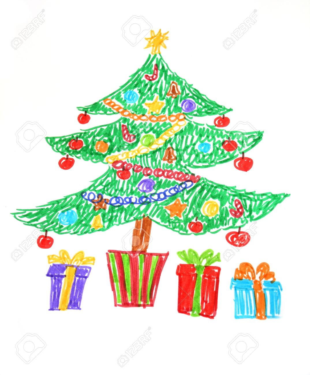 Colorful Christmas Ornaments Drawings.Colorful Drawing Of Decorated Christmas Tree And Presents Child
