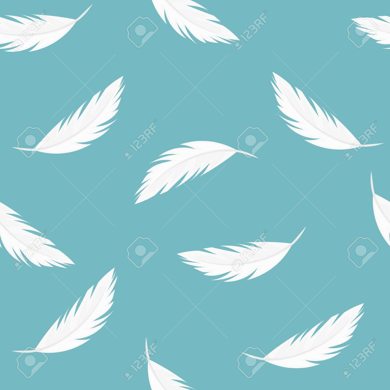 falling feathers seamless vector pattern royalty free cliparts