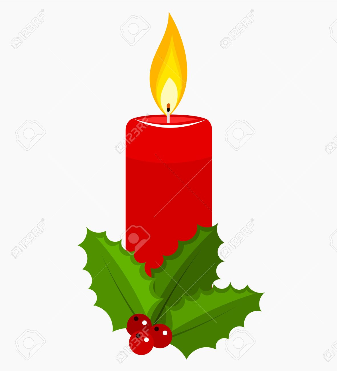 Christmas Candle And Holly Berry. Royalty Free Cliparts, Vectors ...