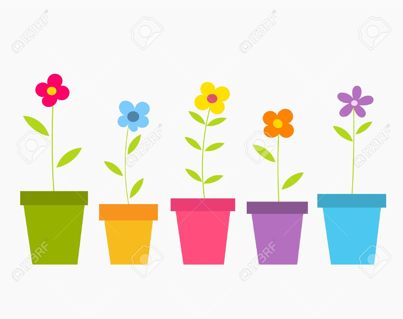Cute spring flower - Cute Spring Colorful Flowers In Pots Vector Illustration Stock Vector 17389782
