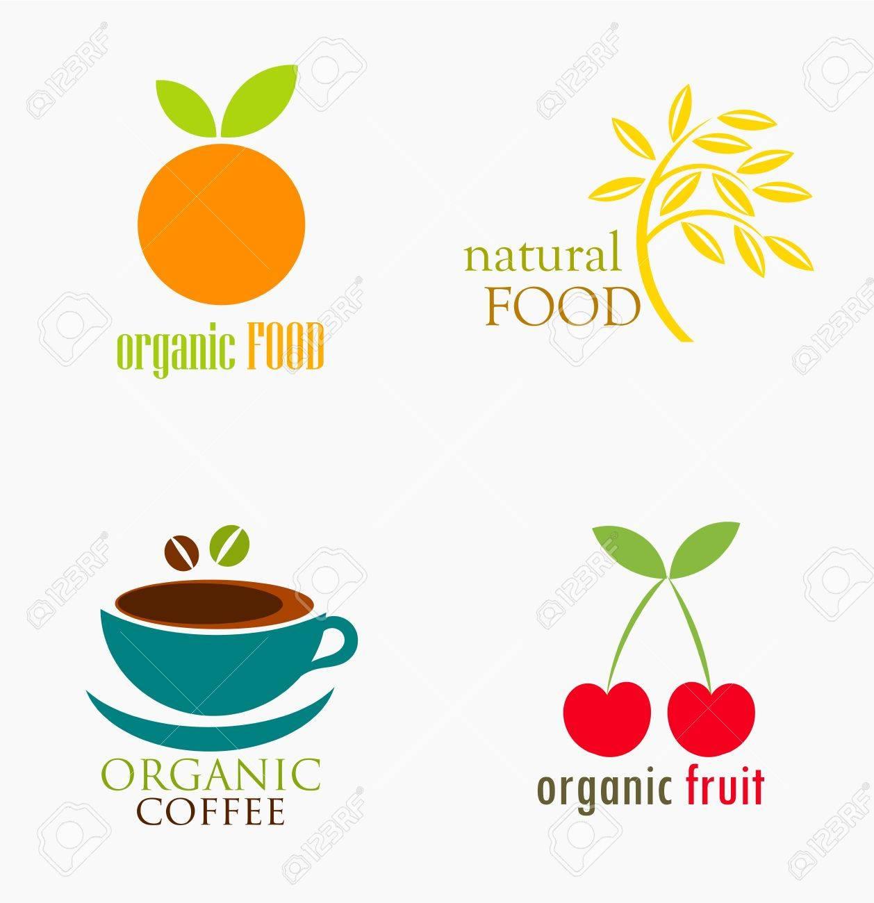 Set of organic and natural food symbols. Vector illustration Stock Vector - 17389822