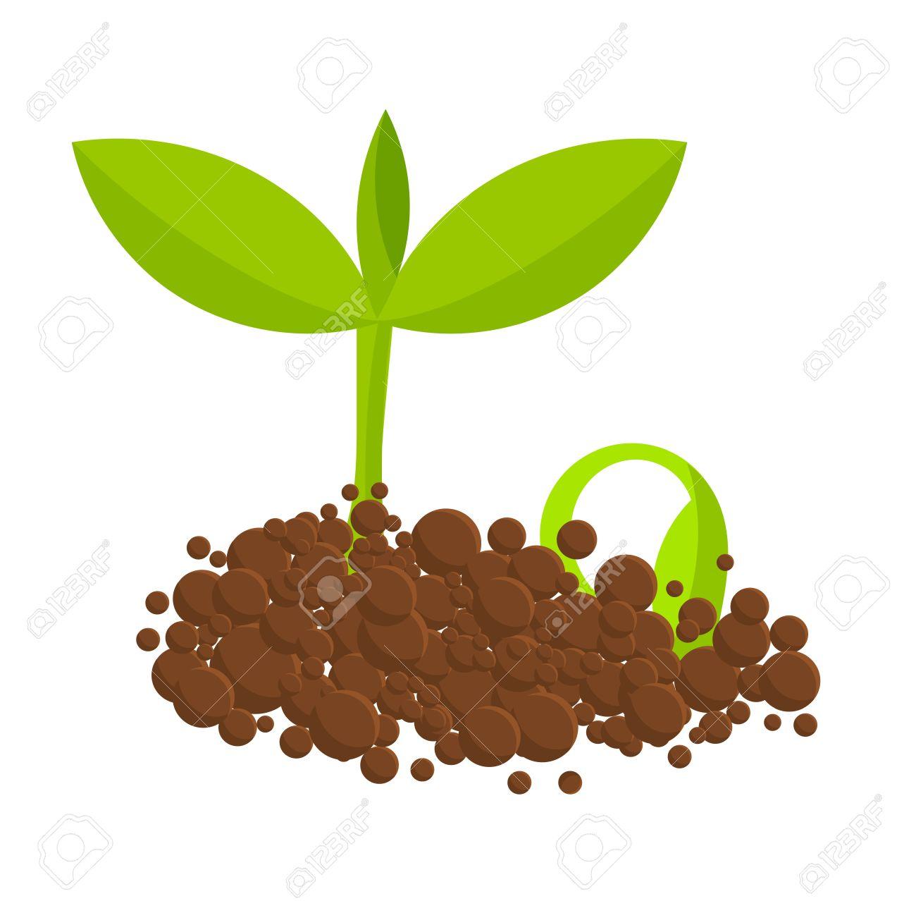 地面から植物を発芽しますベクトル イラストのイラスト素材ベクタ