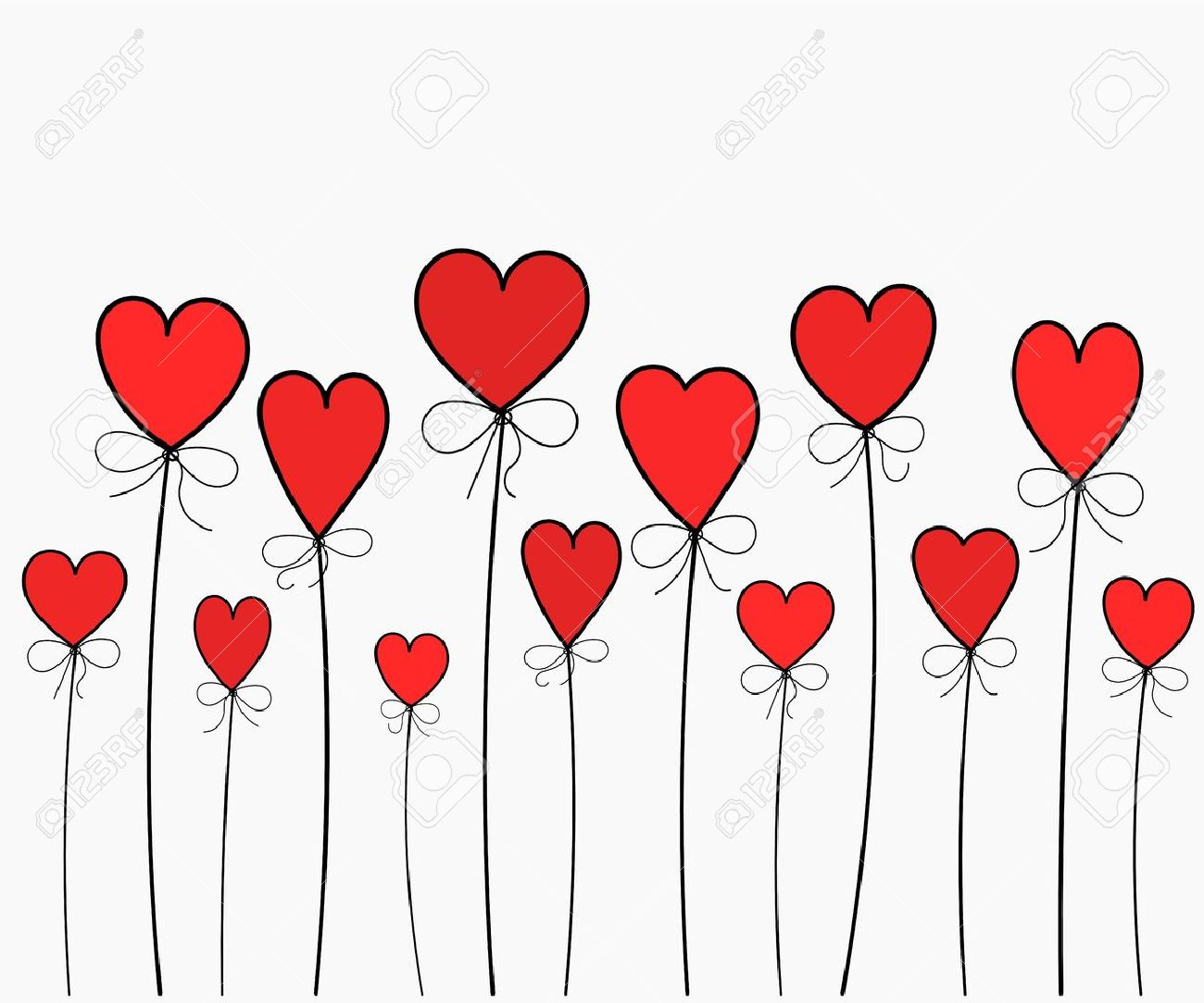 Hearts balloons - illustration background Stock Vector - 17519722