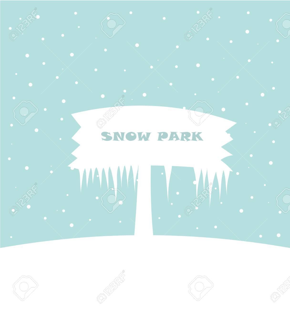 Snow park - white board in snowy landscape. Stock Vector - 17519720