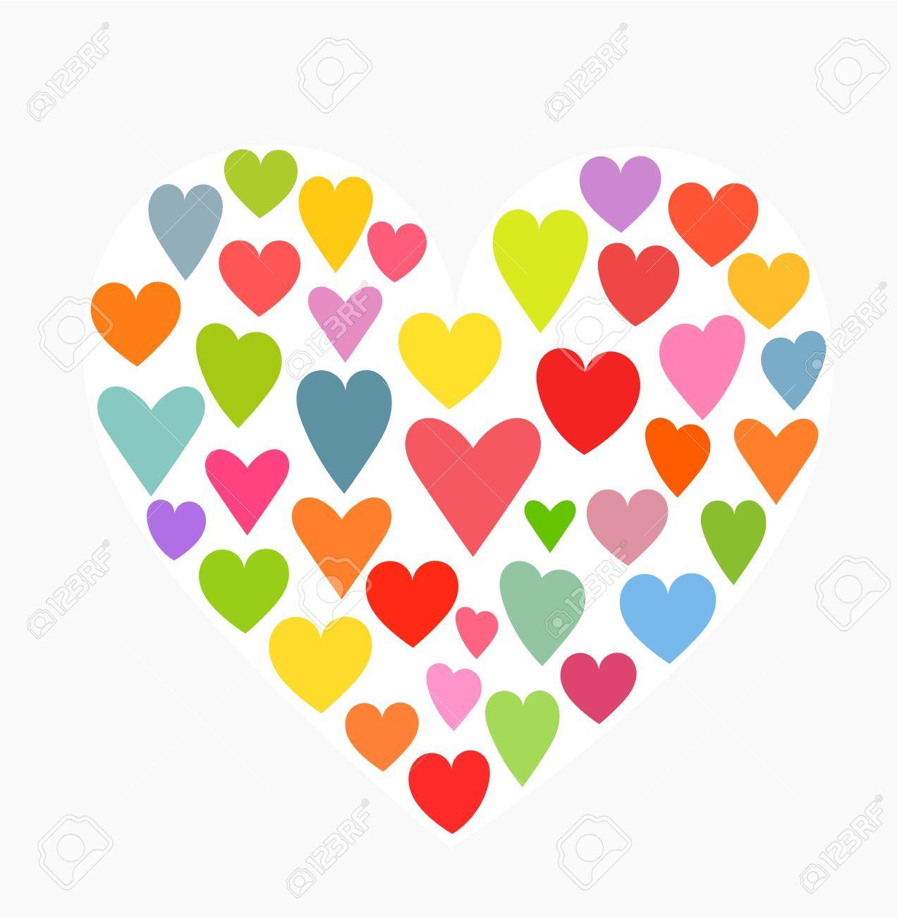 Corazón Hecho De Pequeños Corazones Coloridos Ilustración Vectorial