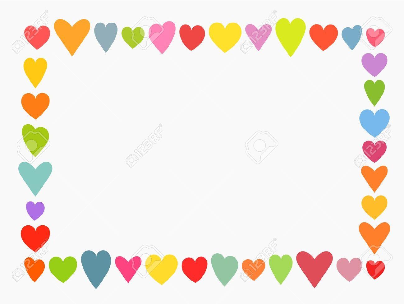 バレンタインデーのカラフルなかわいい心フレームベクトル イラスト