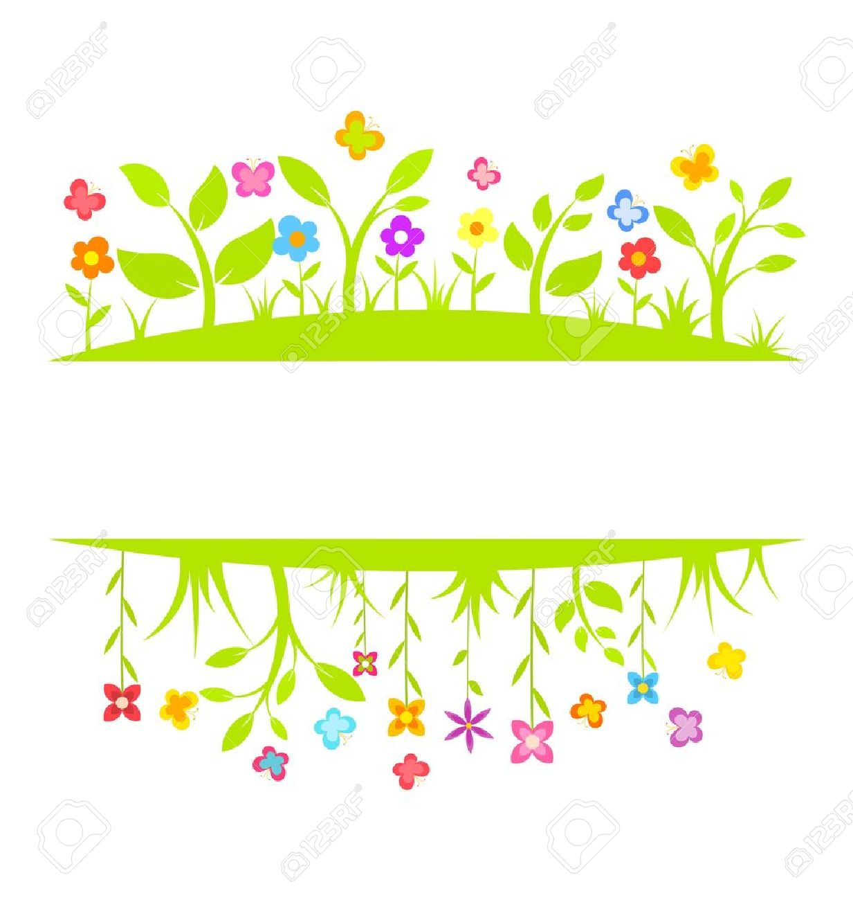 Garden Border Background Spring Flowers And Butterflies Vector Illustration Stock 18545050 A