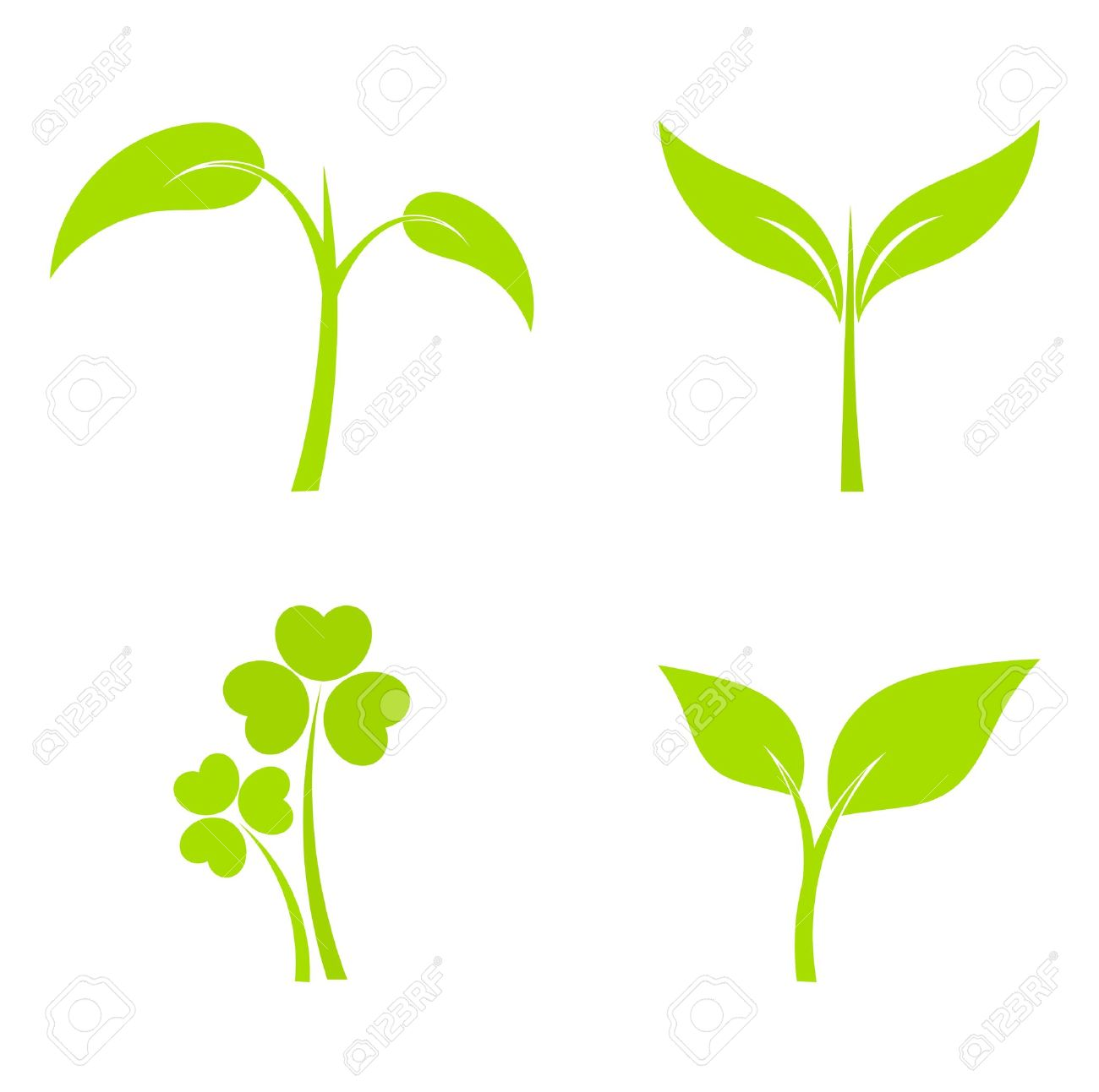 Set of four plant or leaf icons. Vector illustration Stock Vector - 18990527