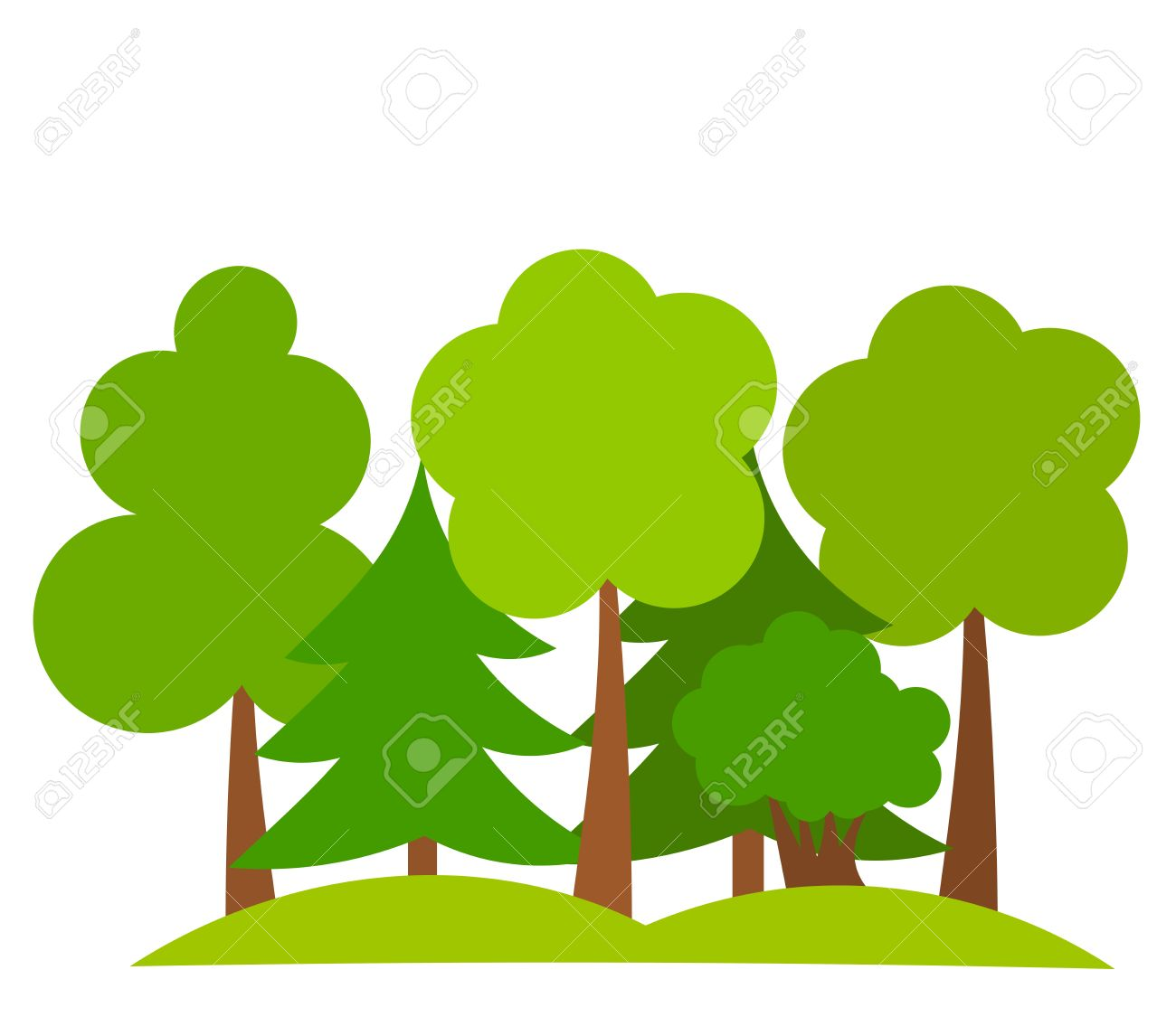 various trees in forest vector illustration royalty free cliparts rh 123rf com forest clip art free forest clipart backgrounds