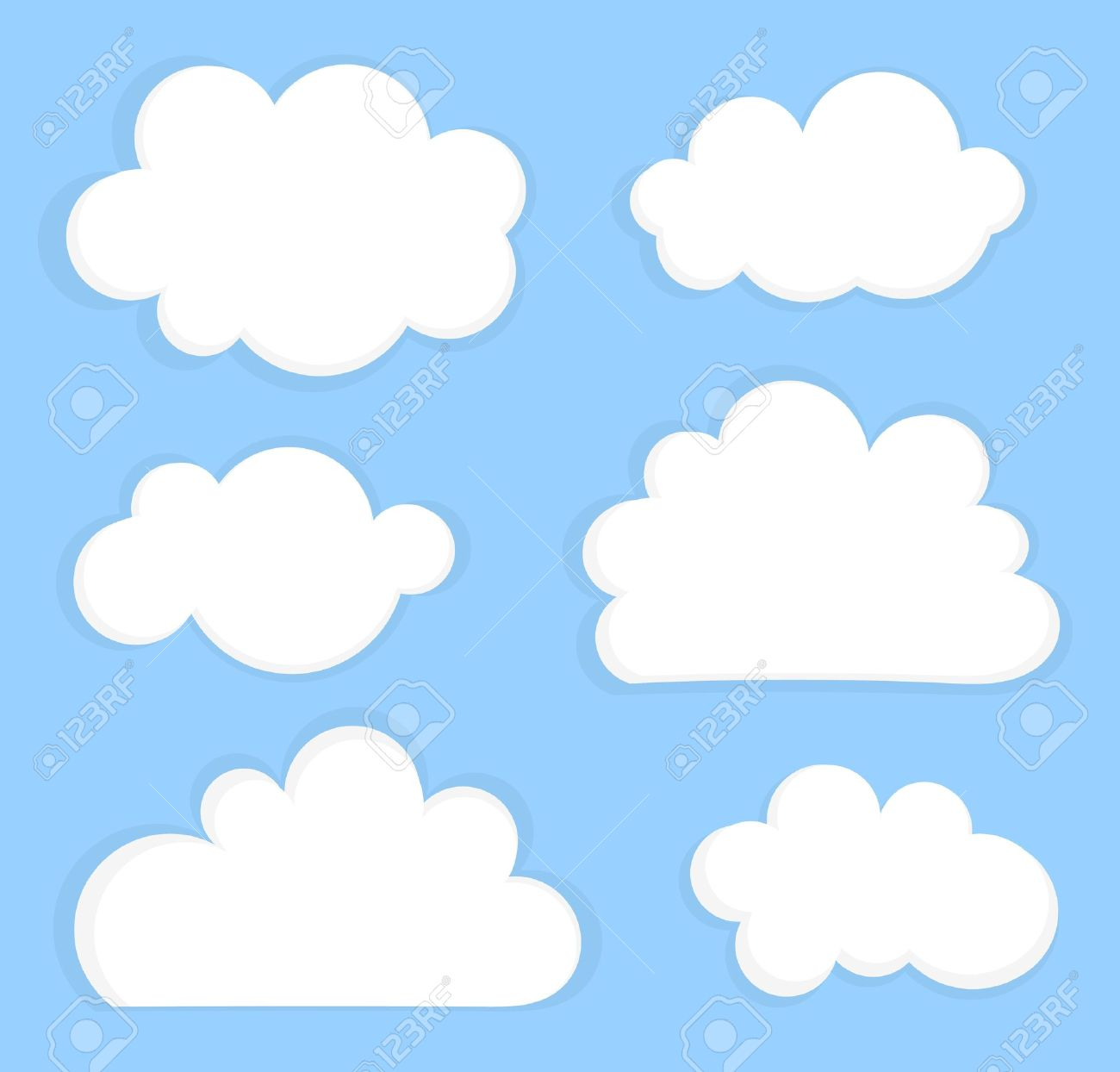 Blue sky with white clouds. Vector illustration Stock Vector - 21137213
