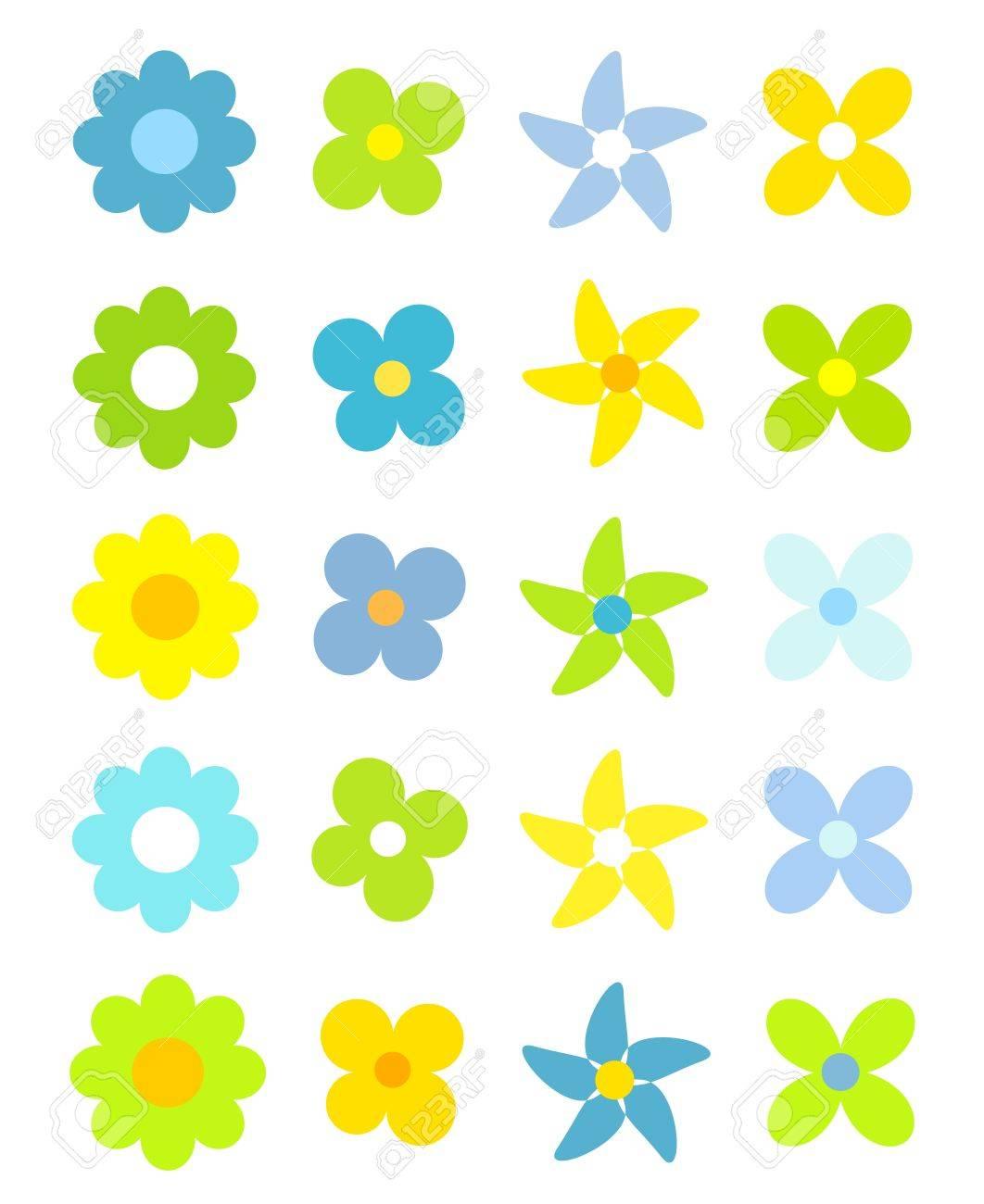 デザインのシンプルなかわいい花のコレクションベクトル イラストの
