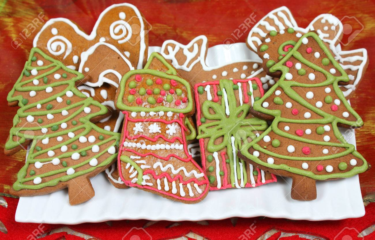 Christmas Gingerbread Cookies Shapes Trees Present And Stocking
