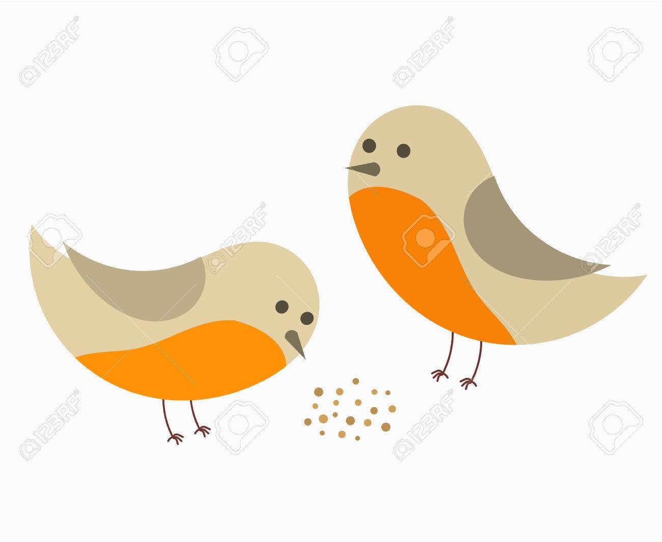 Cute Couple Of Robin Birds. Vector Illustration Royalty Free ...
