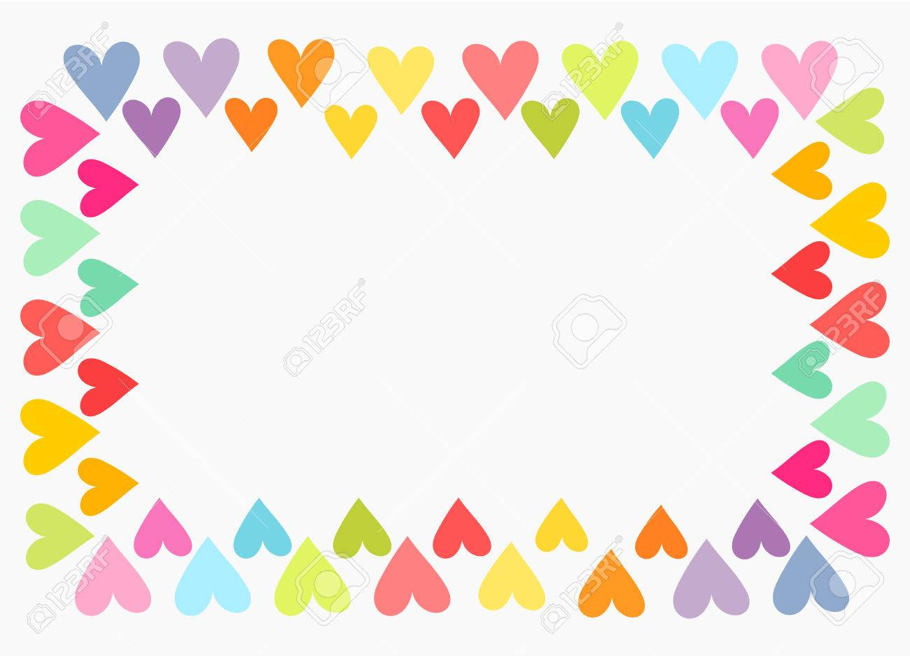 Colorful Hearts Border Valentine S Day Background Royalty Free