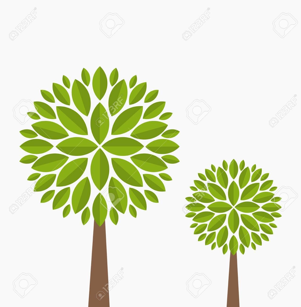 Dos árboles Genealógicos Ilustración Vectorial Sobre Fondo Blanco