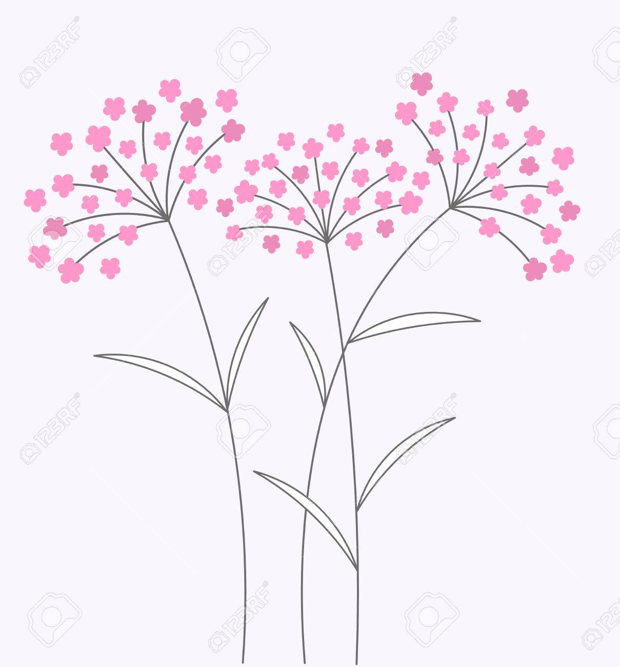 Pink Flowers On Long Stems Vector Illustration Royalty Fri Clipart
