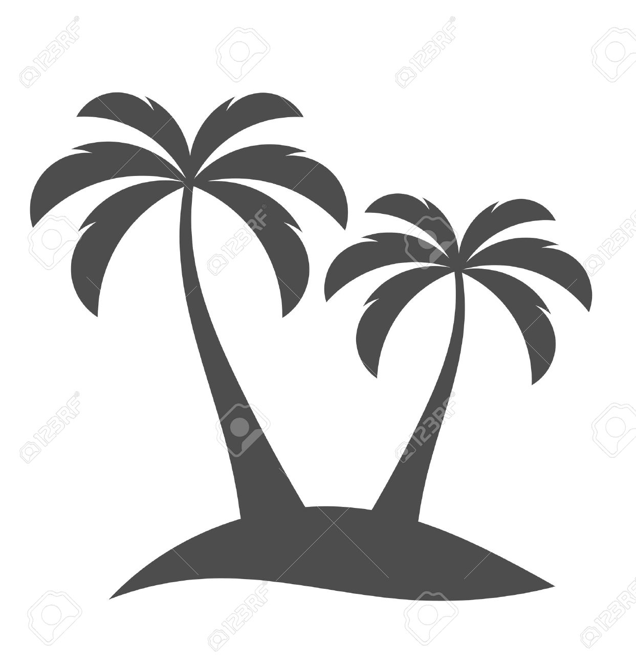 palm trees sihouette on island vector illustration royalty free rh 123rf com free vector palm tree art free vector palm tree graphics