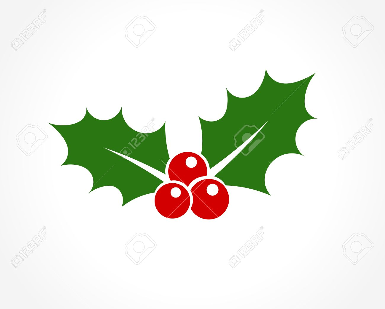 Christmas Icon.Holly Berry Leaves Christmas Icon Vector Illustration