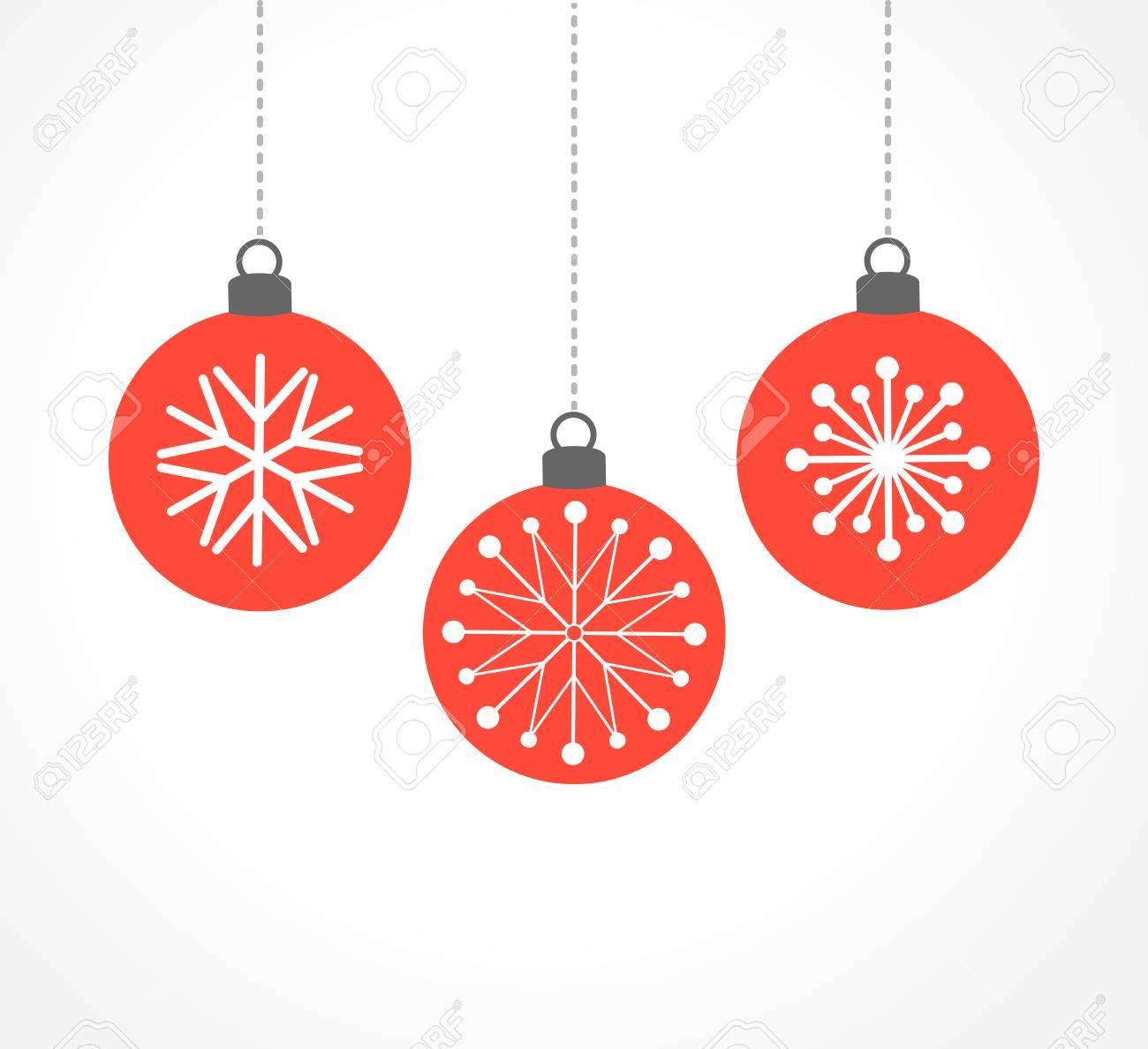 Christmas Ornament Vector.Red Christmas Balls Ornaments Vector Illustration