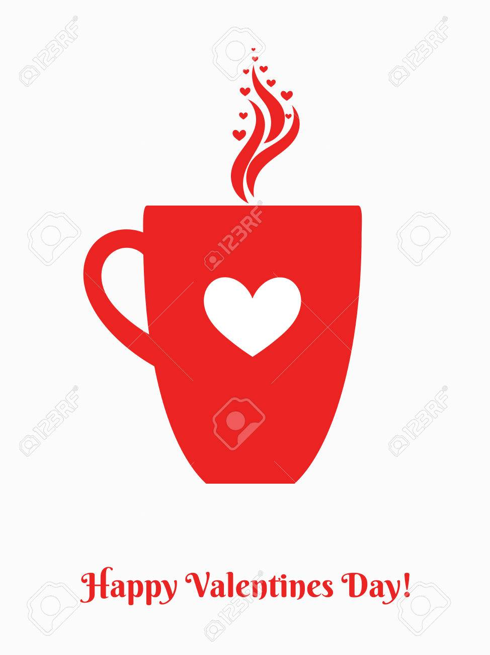 Valentines Day Coffee Mug With Heart Ornament Vector Illustration