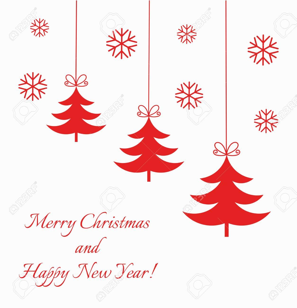 クリスマスオーナメント ツリー赤背景イラストのイラスト素材ベクタ