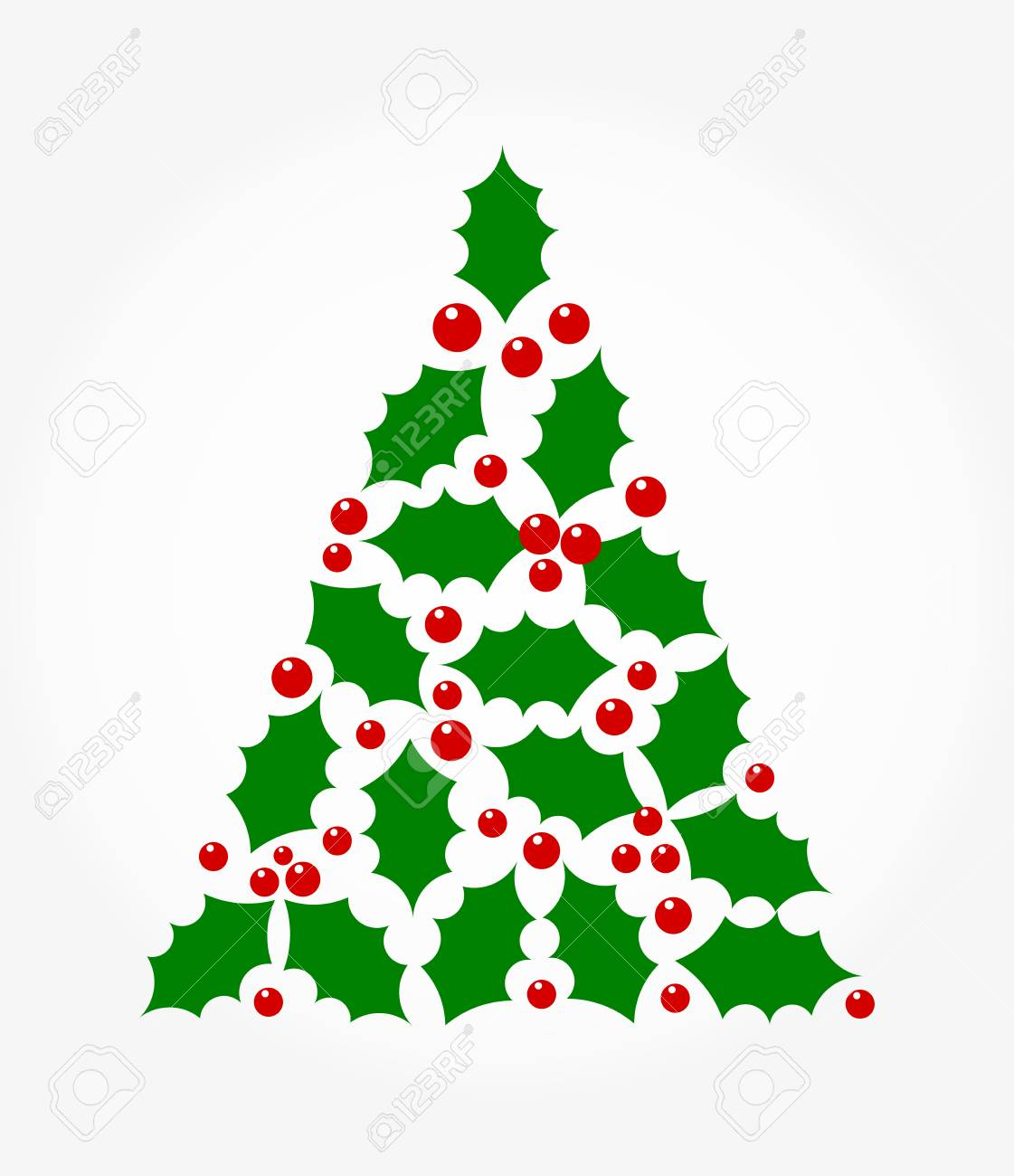Christmas Tree Shape Holly Berry Illustration Royalty Free Cliparts